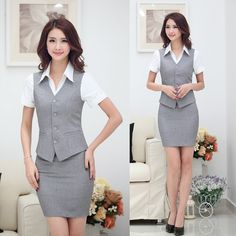 Summer Fashion Women Business Suits with Skirt and Top Sets Gray Vest Waistcoat Slim Ladies Office Uniform Styles Work Wear suits Women's Summer Fashion, Girl Fashion, Womens Fashion, Fashion Design, Costume Steampunk, Suits For Women, Clothes For Women, Skirt And Top Set, Corporate Attire