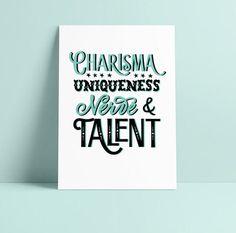 Rupauls Drag Race Print, Charisma Uniqueness Nerve Talent, Typography Illustration, RuPaul Quote, Drag Queen, LGBTQIA