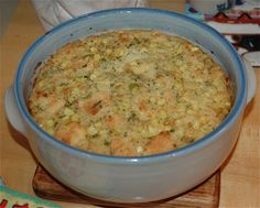 Savory Bread Pudding recipe with corn, scallions and white cheddar