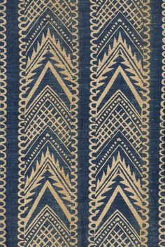 Barron & Larcher D1932  Winchester length from The Fell Dining Room, Girton College, Cambridgedesigned by Phyllis Barron and Dorothy Larcher, hand block and discharge printed indigo on a natural linen ground with a geometric design