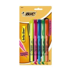 BIC Brite Liner Highlighters, Chisel Tip, Assorted Colors, 5-Count ($4.99) ❤ liked on Polyvore featuring home, home decor, office accessories, school supplies, colored highlighters and bic highlighters