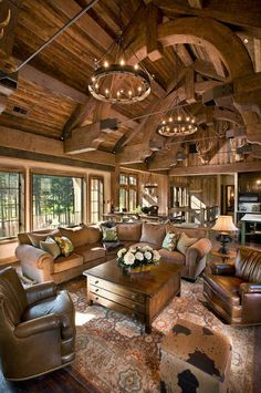 I Love Unique Home Architecture. Simply stunning architecture engineering full of charisma nature love. The works of architecture shows the harmony within. Future House, Log Cabin Homes, Log Cabins, Barn Homes, Family Room Design, Rustic Interiors, Cabin Interiors, Logs, Home Fashion