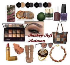 """""""Smokey Soft Autumn Makeup and Accessories"""" by naturalcolormosaic.com    on Polyvore featuring By Terry, Karen Sugarman Designs, Bobbi Brown Cosmetics, Lipstick Queen, Avani, VonZipper, Essie, Smith & Cult, NARS Cosmetics and Steve Madden"""