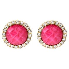 The gold tones and fuchsia center of these simply chic earrings are elegantly offset by sparkling Austrian crystals.   Product: E...