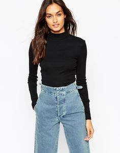 Image 1 of ASOS Turtle Neck Crop Top in Rib