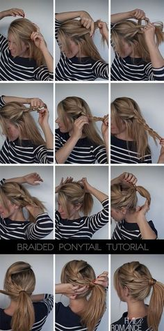 Easy braided ponytail hairstyle tutorial – cute and simple, I like how she takes it all the way from the other side and doesn't french braid the whole thing.