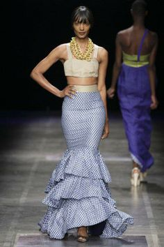 Christie Brown Two-Piece, Tiered Mermaid Skirt