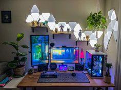 Gaming Desk Setup, Best Gaming Setup, Computer Setup, Pc Setup, Bedroom Setup, Game Room Design, Home Office Setup, Gamer Room, Desktop Organization