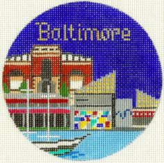 """Silver Needle  BALTIMORE, MD  handpainted 4.25"""" Rd Needlepoint Canvas Ornament"""