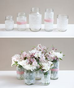 DIY lace-covered mason jars, some with ribbon too