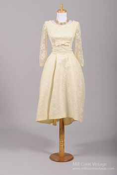 1960 Asymmetrical Lace Vintage Wedding Dress , Vintage Wedding Dresses - 1960 Vintage, Mill Crest Vintage  - 1