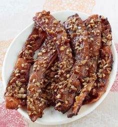 Nutty Brown Sugar Bacon       Print       Ingredients •8 slices Thick Cut Hickory Smoked Bacon •⅓ cup packed brown sugar •4 tsp. Dijon Mustard •⅓ cup chopped PLANTERS Pecans