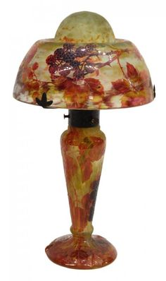 Lot:FRENCH DAUM CAMEO AUTUMN BERRIES ART GLASS LAMP, Lot Number:947, Starting Bid:$2000, Auctioneer:Austin Auction Gallery, Auction:WONDERFUL TWO DAY ESTATES AUCTION, DAY TWO, Date:08:00 AM PT - Jul 13th, 2014