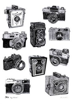 Vintage Camera Print by Ros Shiers, the perfect gift for Explore more unique gifts in our curated marketplace. Old Cameras, Vintage Cameras, Vintage Polaroid, Camera Aesthetic, Camera Drawing, Unusual Presents, Decoration, Artsy Fartsy, Wall Art Prints