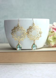 Gold Erinite Moroccan, Boho Filigree, Ornate Chandelier Glass Drop Earrings. Maid of Honor. Bridesmaids Gifts. Light Green Wedding. For Sis.