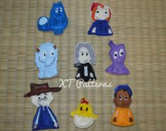 Peg + Cat Finger puppets embroidery pattern design