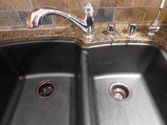 How to clean black granite composite sink.