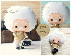 Albert Einstein. PDF pattern. Felt doll.