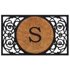 Armada Circle Monogram Doormat (Letter S), Black