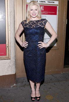 Megan Hilty in a beautiful midnight blue lace dress.