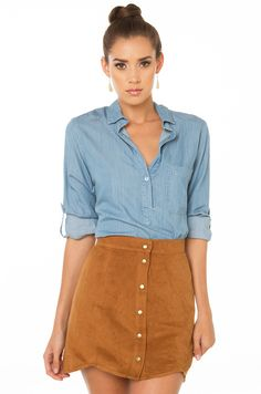 AKIRA's Up Down Camel Suede Skirt features a banded waist, button down front, and curved hem. Free standard U.S. shipping $75+.