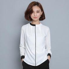 326bcd33915a0c US $18.41 40% OFF|White Black Pathwork Shirt Women Long Sleeve Tops 2019  Elegant OL Chiffon Slim Shirts Work Wear Office Blouse Blusas Feminina-in  Blouses ...