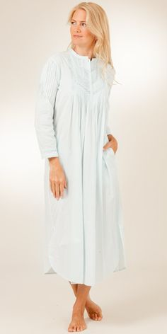 8111b919dc1 La Cera Cotton Nightgowns - Long Sleeve in Pintucking Delight - Blue