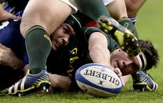 France's captain Thierry Dusautoir (L) vies with South Africa's flanker Louis Francois Louw during the international rugby union test match between France and South Africa at the Stade de France in Saint-Denis near Paris on November 23, 2013. FRANCK FIFE/AFP/Getty Images