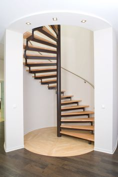 Spiral Staircase Kits, Spiral Stairs Design, Staircase Railing Design, Home Stairs Design, Home Room Design, Tiny House Design, Small Space Staircase, Tiny House Stairs, Balkon Design