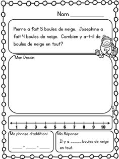 Hiver: Math Printables in French (addition. by La classe de Madame Angel 2nd Grade Worksheets, 1st Grade Math, Grade 1, Numbers Kindergarten, Math Numbers, Math Addition, Addition And Subtraction, Subtraction Strategies, Math Word Problems