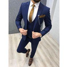 Bernard navy blue bojoni wedding suits men fall menswear ideas for 2019 Blue Slim Fit Suit, Blue Suit Men, Navy Blue Suit, Blue Suits, Navy 3 Piece Suit, Blue Prom Suits For Guys, Navy Blue Tuxedos, Dress Suits For Men, Men Dress