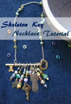 DIY Jewelry Tutorial: How to Make a Necklace with a Skeleton Key and Beads DIY Schmuck Tutoria Fork Jewelry, Key Jewelry, Beaded Jewelry, Handmade Jewelry, Pandora Jewelry, Recycled Jewelry, Diy Jewellery, Crystal Jewelry, Jewelry Art