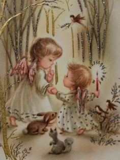 Sweet Glittered Angels & Animals-Vintage Christmas Greeting Card by lola Images Vintage, Vintage Christmas Images, Christmas Scenes, Old Fashioned Christmas, Christmas Past, Retro Christmas, Vintage Holiday, Christmas Pictures, Christmas Angels