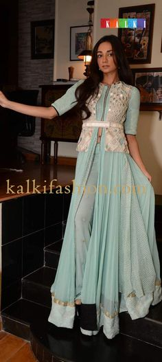 http://www.kalkifashion.com/   Model showing off Ira Dubey's collection in a gorgeous blue attire