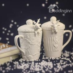 Christmas Theme Reindeer Design Spoon Ceramic Coffee Mug on sale, Buy Retail Price Coffee Mugs at Beddinginn.com