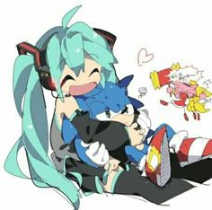 Hatsune Miku with Sonic