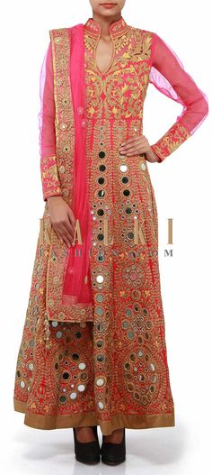 Buy Online from the link below. We ship worldwide (Free Shipping over US$100). Product SKU - 302327. Product Link - http://www.kalkifashion.com/pink-anarkali-suit-adorn-in-thread-and-mirror-embroidery-only-on-kalki-17936.html
