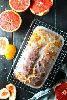 This Grapefruit Yogurt Pound Cake is rich, sweet, and super tart! It's the perfect simple cake for afternoon tea or a rustic dessert. Grapefruit Recipes Baked, Grapefruit Cake, Just Desserts, Dessert Recipes, Pound Cake Recipes, Pound Cakes, Dessert Bread, Homemade Desserts, Cake Servings