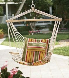 Hanging Chair with Cabana-Striped Pillow from Through the Country Door®