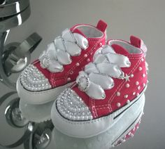 *Blinged* to your requirements using top quality crystals and pearls, these baby crib Converse are available in all sizes and crib colours.    Once ordered, please message me with your choice of ribbon etc    Shoes are dispatched within 7-10 working days and more often within 7 working days.    Shoes are posted 1st Class signed for post and I will always notify you when they are ready to dispatch. | Shop this product here: spree.to/aw2v | Shop all of our products at…
