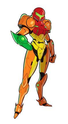 fsnowzombie:  Armored Lady Monday Samus Aran <3 slight redesign to her armor just for fun