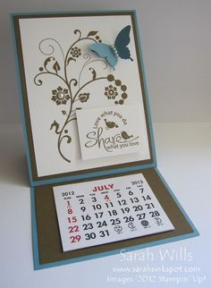 This is an Easel Card featuring a stamped image & calendar pad - I plan to make a bunch of these for Holiday teacher gifts this year...