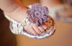 Crocheted Baby Flip Flops - 100% Soft Cotton - Spring Summer Handmade - Violet - Spring Green - White, $12.0