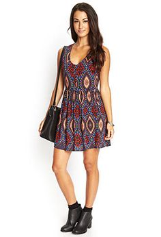 Geo Print Cutout Dress | FOREVER 21 - 2000104836