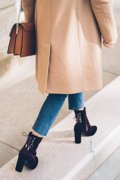 5 Cute and Comfortable Shoe Styles You Can Wear Day to Night | Jess Ann Kirby wears velvet booties and a camel wool coat