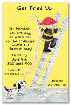 Fireman birthday invite