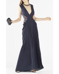 BCBGMAXAZRIA | Multicolor Kamara Deep-v Lace Draped Gown | Lyst