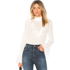 Endless Rose Eyelet Blouse ($99) ❤ liked on Polyvore featuring tops, blouses, embroidered blouse, ruffle blouse, white eyelet top, white ruffle blouse and ruffle top