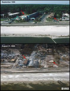 Katrina Biloxi Before and After | before and after photos showing an area where the only structure left ...