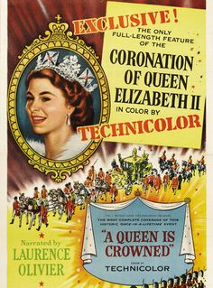 A poster promoting the film of The Queen's coronation